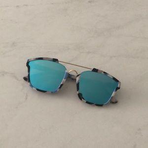 Accessories - Trendy Blue Reflective Mirrored Sunglasses
